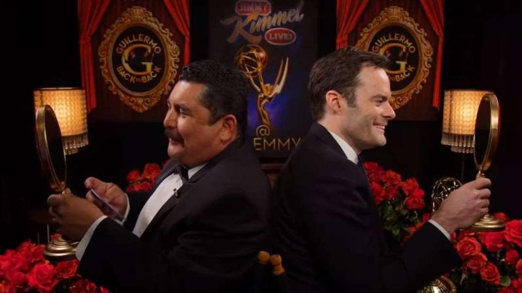 گیلرمو رادریگوز، با بیل هیدر, فیبی والر-بریج, بیلی پورتر در پشت صحنه امی، مصاحبه کرد